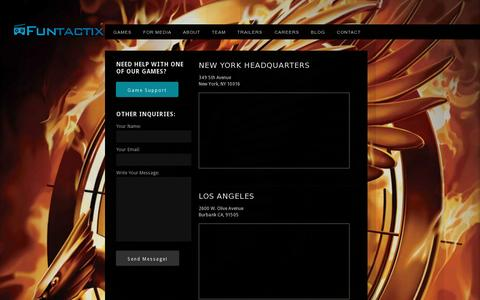 Screenshot of Contact Page funtactix.com - Funtactix Game production for blockbuster media properties - captured July 21, 2014