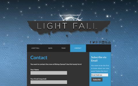 Screenshot of Contact Page bishopgames.com - Contact - Bishop Games - captured Sept. 30, 2014