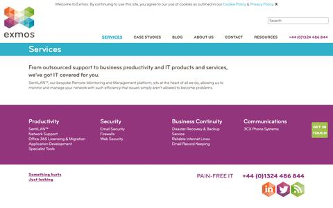 Screenshot of Services Page exmos.com - Services | Exmos - Enterprise IT & Industrial IT Managed Service Support - captured Sept. 30, 2018