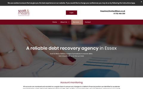 Screenshot of Services Page scottandmears.co.uk - Debt recovery agency | Scott & Mears - captured Sept. 20, 2018