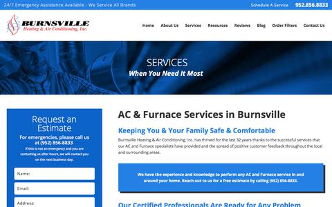 Screenshot of Services Page burnsvilleheating.com - Burnsville AC & Furnace Services   Burnsville Heating & AC Experts - captured Oct. 11, 2017