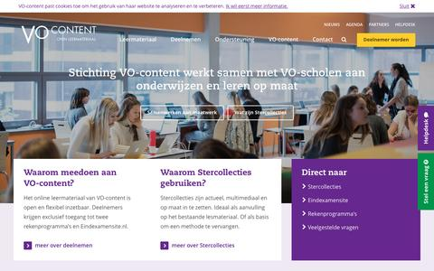 Screenshot of Home Page vo-content.nl - Homepage - VO-Content - captured Dec. 2, 2016