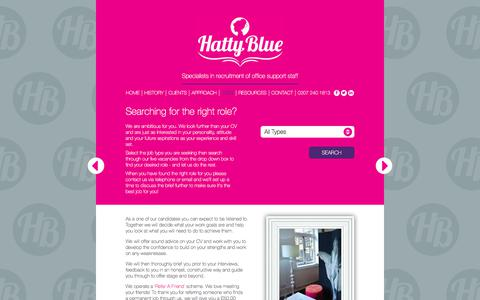 Screenshot of Jobs Page hattyblue.co.uk - Hatty Blue - support staff & media recruitment agency - Searching for the right role? - captured July 16, 2018