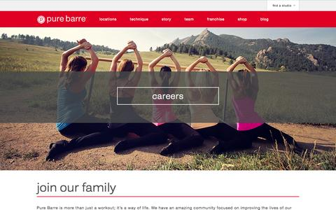 Screenshot of Jobs Page purebarre.com - Careers - Pure Barre - captured Sept. 22, 2014