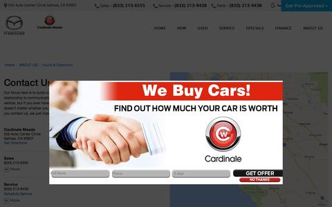 Screenshot of Contact Page Maps & Directions Page cardinalemazda.com - Contact Cardinale Mazda in Salinas California - captured Feb. 18, 2018