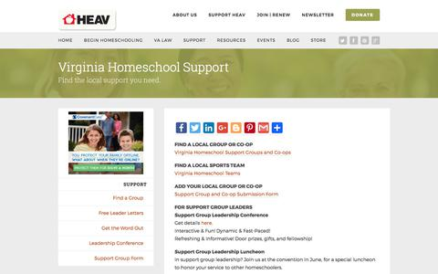 Screenshot of Support Page heav.org - Support | Home Educators Association of Virginia - captured Aug. 19, 2017