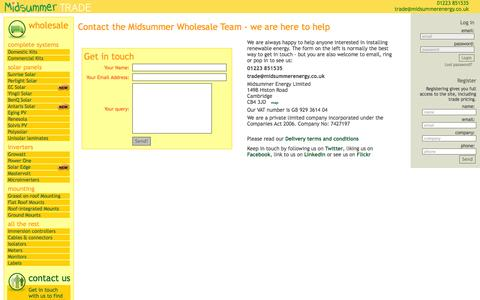 Screenshot of Contact Page midsummerwholesale.co.uk - Midsummer Wholesale - Contact us - address phone email - captured Oct. 31, 2014
