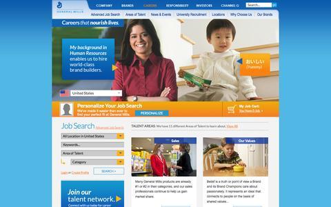 Screenshot of Jobs Page generalmills.com - General Mills   Career Opportunities  Search Jobs - captured Sept. 22, 2014