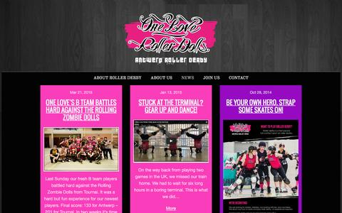 Screenshot of Press Page oneloverollerdolls.be - One Love Roller Dolls - captured May 14, 2016