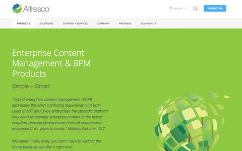 Screenshot of Products Page alfresco.com - Enterprise Content Management Software (ECM) BPM Software | Alfresco - captured June 16, 2015