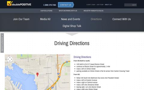 Screenshot of Maps & Directions Page doublepositive.com - DoublePositive :: Directions - captured Sept. 11, 2014