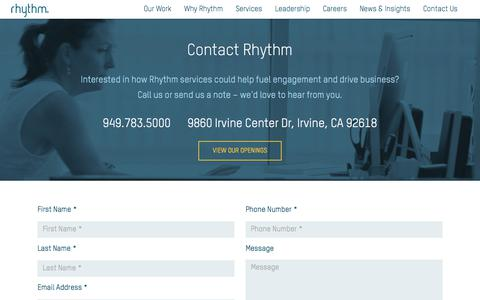 Screenshot of Contact Page rhythmagency.com - Contact Us - captured Sept. 9, 2019