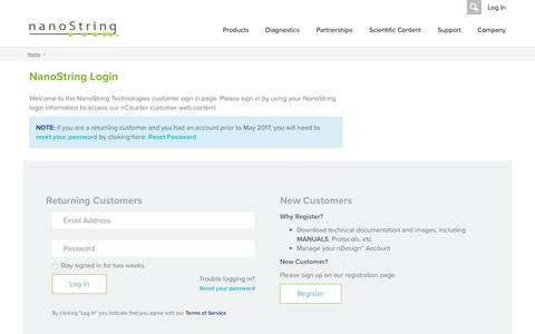 Screenshot of Login Page nanostring.com - NanoString Technologies, Inc. :: Login - captured May 9, 2017