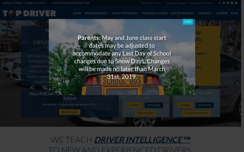 Screenshot of Home Page topdriver.com - Driving Schools: Drivers Ed, Illinois, Michigan, Ohio, Online - captured Feb. 17, 2019