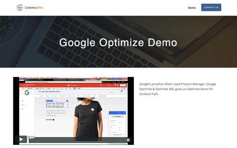 Screenshot of Landing Page cardinalpath.com - Google Optimize 360 Demo - captured March 27, 2018