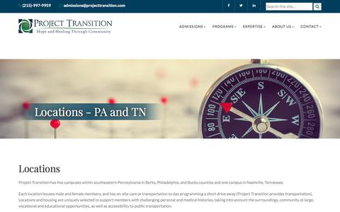 Screenshot of Locations Page projecttransition.com - Project Transition: Locations - PA and TN - captured July 23, 2018