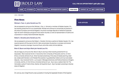 Screenshot of Press Page heroldlaw.com - Warren, NJ Environmental Lawyers News | Herold Law, P.A. - captured Aug. 11, 2017