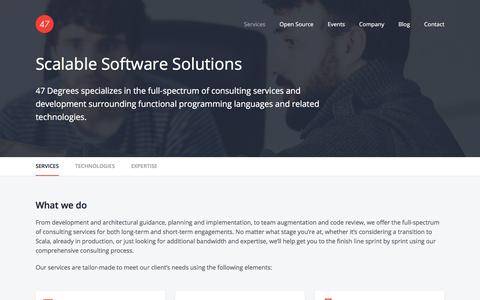Screenshot of Services Page 47deg.com - Scalable Software Solutions - captured Oct. 18, 2017