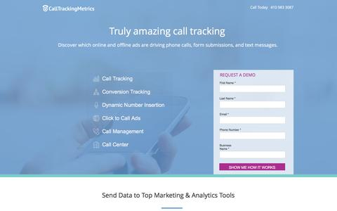 Screenshot of Landing Page calltrackingmetrics.com - Call Tracking Software - captured May 25, 2017