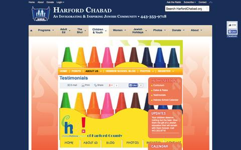 Screenshot of Testimonials Page harfordchabad.org - Testimonials - Harford Chabad - captured Sept. 30, 2014