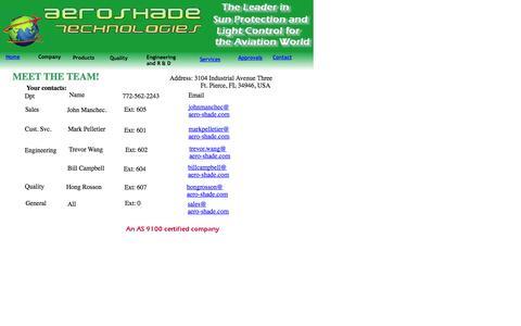 Screenshot of Contact Page aero-shade.com - Contact - captured Oct. 4, 2014