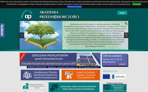 Screenshot of Home Page ap.org.pl - Witaj na Akademia Przedsiębiorczości | Akademia Przedsiębiorczości - captured Oct. 12, 2015