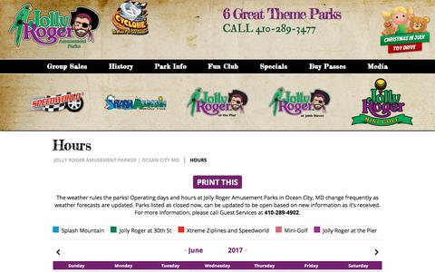 Screenshot of Hours Page jollyrogerpark.com - Hours | Jolly Roger Amusement Parks | Ocean City MD - captured June 22, 2017
