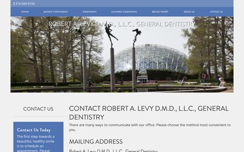 Screenshot of Contact Page robertlevydental.com - Contact Robert A. Levy D.M.D., L.L.C., General Dentistry St. Louis MO - captured Dec. 21, 2018