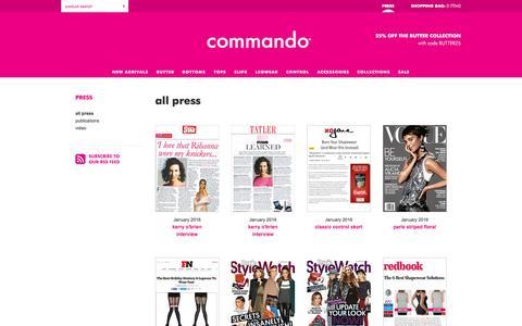 Screenshot of Press Page wearcommando.com - Press — commando® - captured Jan. 23, 2016