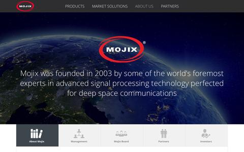 Screenshot of About Page mojix.com - RFID Technology Developed by Experts in Deep Space Communications - Mojix Inc. - captured Dec. 10, 2015