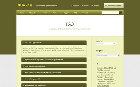 Screenshot of FAQ Page 100miles.in - FAQ   100miles.IN - captured Feb. 27, 2016