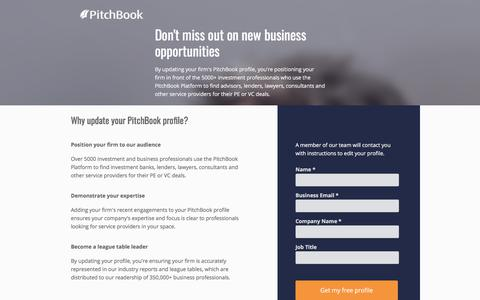 Screenshot of Landing Page pitchbook.com - Update your PitchBook Profile - captured March 2, 2018
