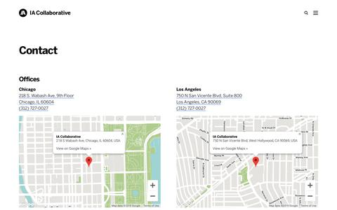 Screenshot of Contact Page iacollaborative.com - Contact – IA Collaborative - captured Sept. 11, 2019