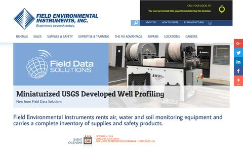 Screenshot of Home Page fieldenvironmental.com - Environmental Equipment | Air Quality | Water Monitoring - captured Oct. 10, 2018
