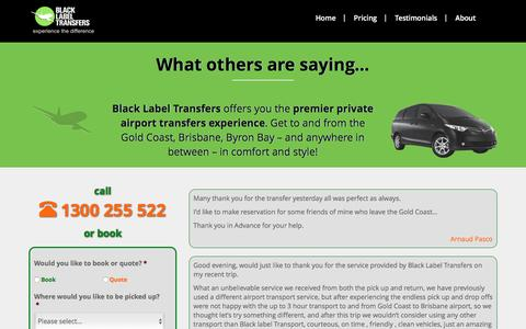 Screenshot of Testimonials Page blacklabeltransfers.com.au - Gold Coast Airport Transfers Testimonials - Black Label Transfers - captured July 29, 2016