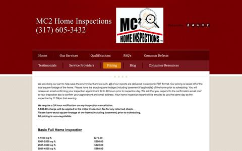 Screenshot of Pricing Page mc2inspections.com - MC2 Home Inspections Home Inspectors Mooresville Indiana - MC2 Home Inspections | Home Inspectors Indianapolis | Mold Testing - captured Oct. 3, 2014