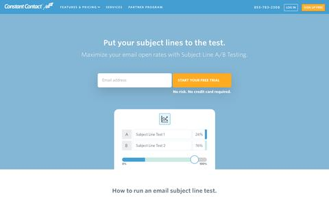 Constant Contact | Email Subject Line A/B Testing