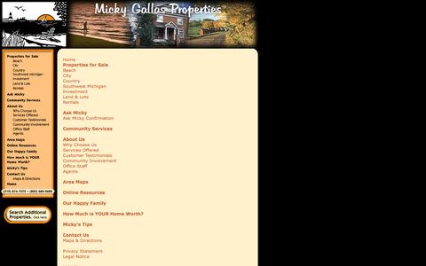 Screenshot of Site Map Page mickygallasproperties.com - Micky Gallas Properties - Site Map - captured Oct. 27, 2014