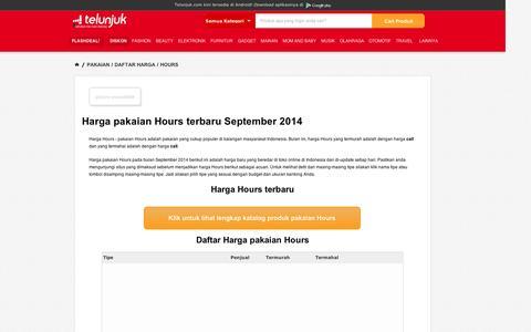 Screenshot of Hours Page telunjuk.com - Harga Pakaian Hours Terbaru September 2014 - Telunjuk.com - captured Sept. 12, 2014