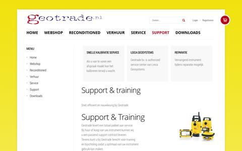 Screenshot of Support Page geotrade.nl - Support & training - captured Oct. 3, 2014