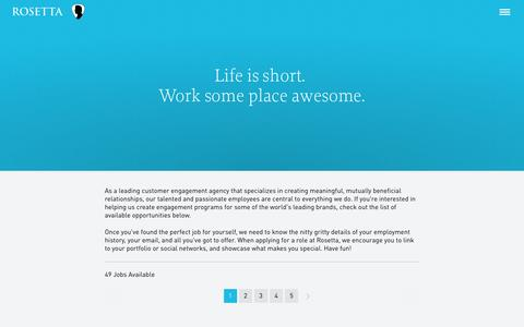 Screenshot of Jobs Page rosetta.com - Search for Job Opportunities | Careers | Rosetta - captured Feb. 26, 2016