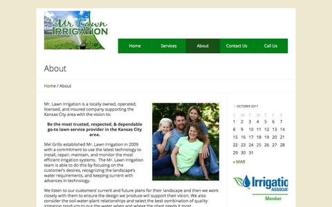 Screenshot of About Page mrlawnirrigation.com - About | Mr. Lawn Irrigation - captured Oct. 25, 2017