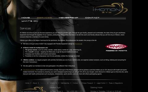 Screenshot of Services Page imotiongym.com - Services | I Motion Gym Mauritius | imotiongym.com - captured Sept. 30, 2014