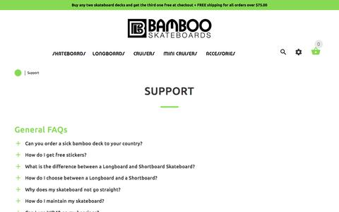 Screenshot of Support Page bambooskateboards.com - Support | Frequently Asked Questions | BambooSkateboards FAQ - captured May 31, 2017