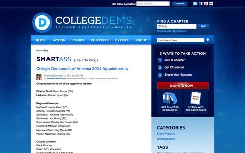 Screenshot of Blog collegedems.com - Blog «  College Democrats of America - captured Oct. 8, 2014