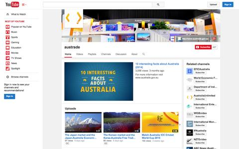 Screenshot of YouTube Page youtube.com - austrade  - YouTube - captured Oct. 23, 2014