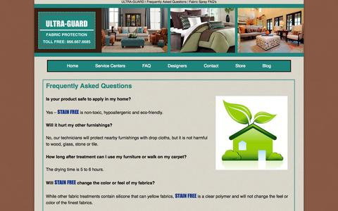 Screenshot of FAQ Page ultra-guard.com - ULTRA-GUARD | Frequently Asked Questions | Fabric Spray FAQ's - captured Oct. 1, 2014