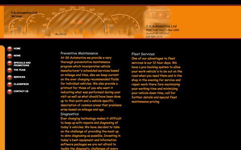 Screenshot of Services Page skauto.ca - S.K.Automotive Ltd Services - captured Oct. 3, 2014