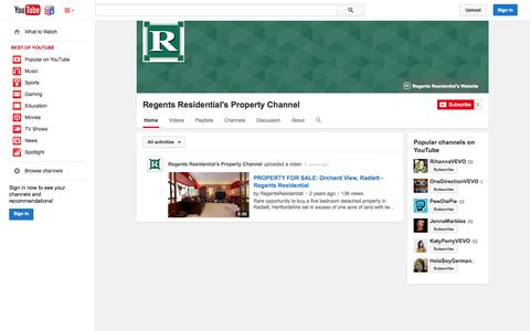 Screenshot of YouTube Page youtube.com - Regents Residential's Property Channel  - YouTube - captured Nov. 5, 2014