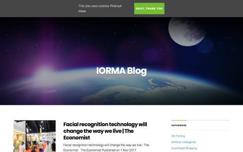 Screenshot of Blog iorma.com - Blog – IORMA | Consumer Commerce Centre - captured July 27, 2018